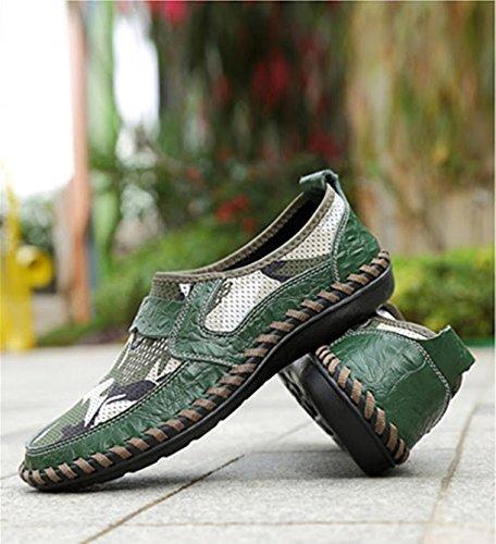 morbido confortevole scarpe estive scarpe Bebete5858 scarpe pelle casual in traspirante estate uomo marchio vera Verde slip on mesh uomo da moda 01 wwYUHqS