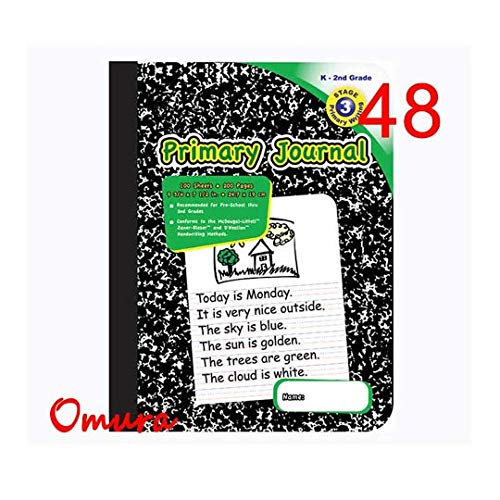 Omura PRIMARY JOURNAL Composition Book, 9 3/4'' x 7 1/2'', Wide Ruled, 100ct Black Marble (Pack 24)