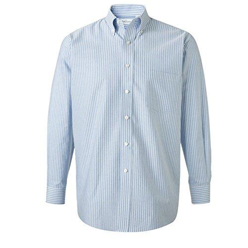 Van Heusen 13V0040 Men's Long Sleeve Oxford Shirt Blue Stripe 2XL