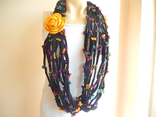 Handmade Crochet Infinity Scarf -Black Infinity Scarf -Chain Crochet Scarf with Mustard Flower Pin