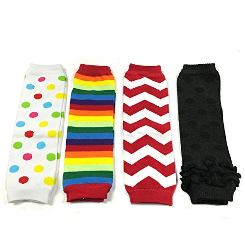 Wrapables Colorful Baby Leg Warmers Set of 4, Multi Dots, Rainbow Brite, Chevron, Grey Dots