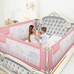 BAYBEE Bed Rail Guard for Baby Safety-Portable and Foldable Full Bed Rail for Kids (Pink, 150×63 cm) (Pack of 1)