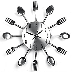 Chige Stainless steel Wall Clock Large 12-Inch Silent Non-Ticking for Kitchen Living Room Bathroom Bedroom Wall Decor with knife and fork tableware (Silver)