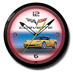 Corvette C6 Yellow Genuine Neon 20 Wall Clock Made In USA New