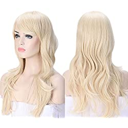 """2-5 Days Delivery Unisex Japanese Anime Cosplay Wigs Synthetic Long Curly Big Wave Full Party Costume Wig Layered with Bangs and Cap Halloween Wigs for Women (24""""-Wavy, Bleach blonde)"""