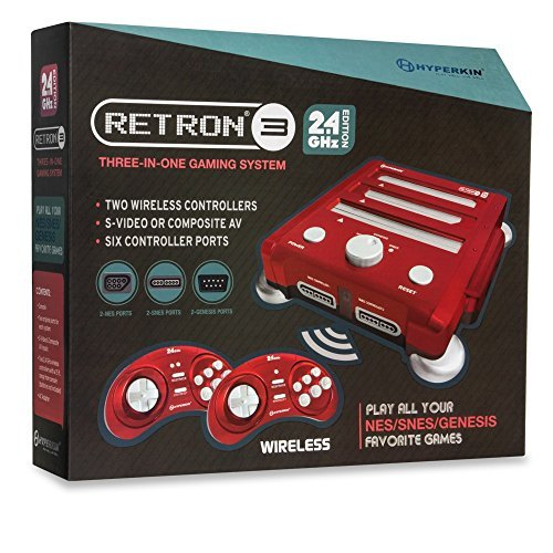 Hyperkin RetroN 3 Gaming Console 2.4 GHz Edition for SNES/ Genesis/ NES (Laser Red) (Best Retro Gaming Console)
