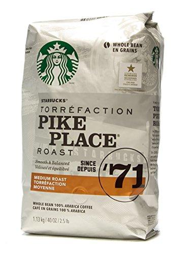 Starbucks Pike Place Medium Roast Whole Bean Coffee 40 oz (1 Pack)