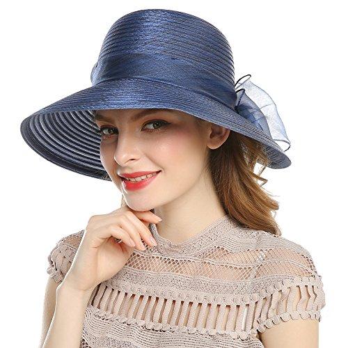 Welrog Women's Organza Wide Brim Bowknot Ponytail Kentucky Derby Church Dress Sun Hat Navy