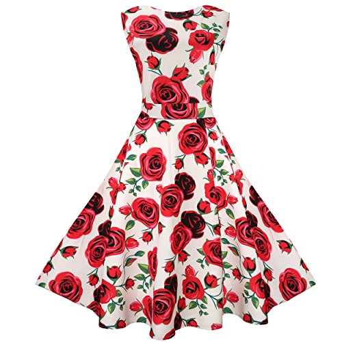 MaggieX Sleeveless Garden Party Tea Dress Flared Swing (XXL, Q001-4)