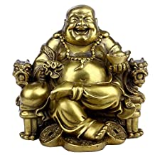 Feng Shui Handmade Maitreya Laughing Buddha Statue Sitting on Emperor's Chair Sculpture Ornament& Feng shui Golden Dragon Turtle Sculpture Ornament (Large Buddha)