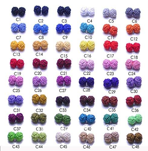 Silk Mens Cufflinks - Silk Knot 6 Pair Wholesale Silk Cufflinks
