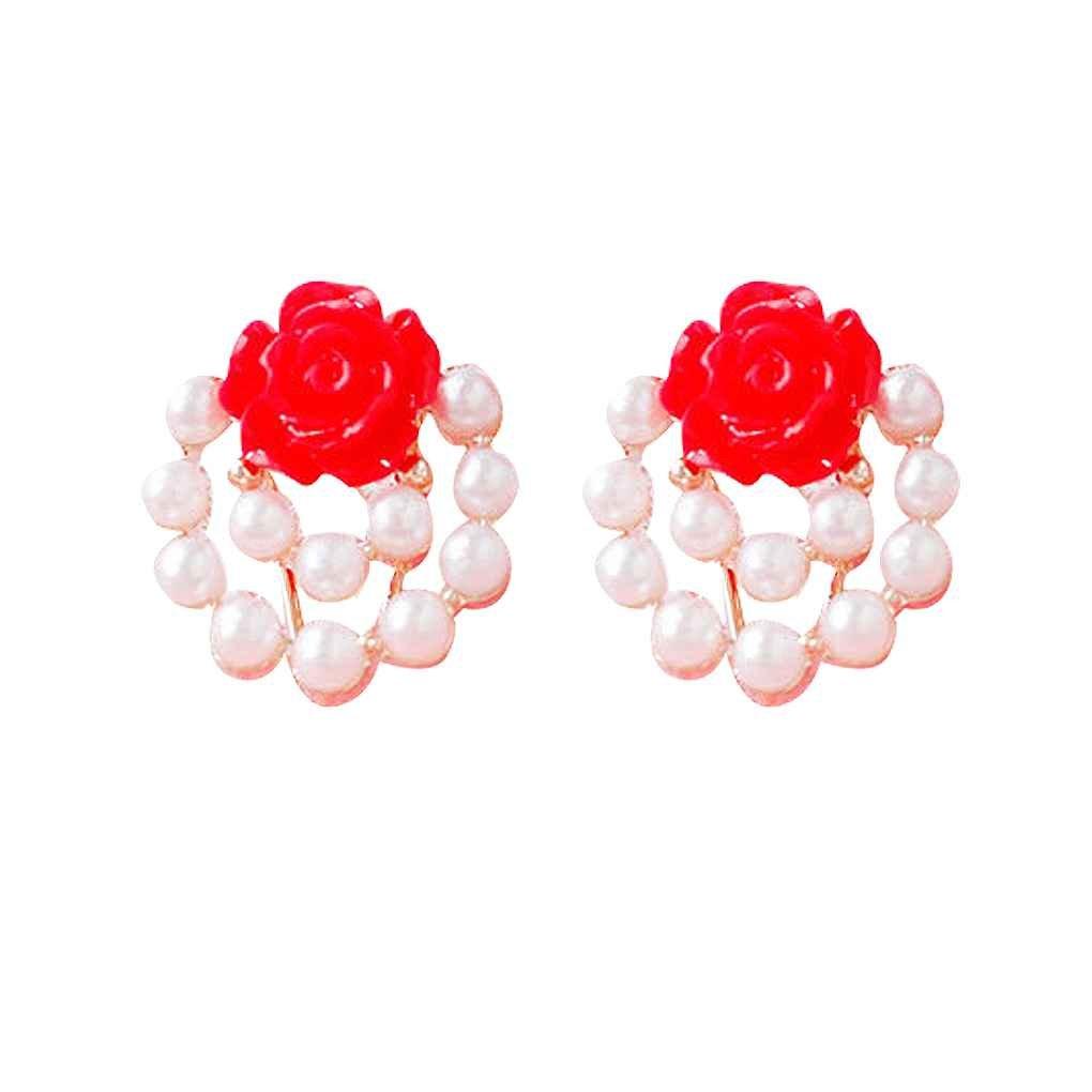Mengonee Femmes colorées Rose filles Boucles d'oreilles Clips Pin Peral décoration florale en alliage de zinc boucle d'oreille Bijoux Cadeau