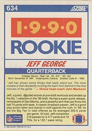 Amazoncom 1990 Score 634 Jeff George Rc Rookie Colts