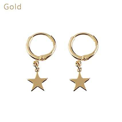 7f7cb929d Amazon.com : 1 Pair Trendy Gold Color Small Star Tiny Moon Charms Hoop  Earrings for Women New Ear Piercing Earrings Simple Jewelry Gifts : Sports  & Outdoors