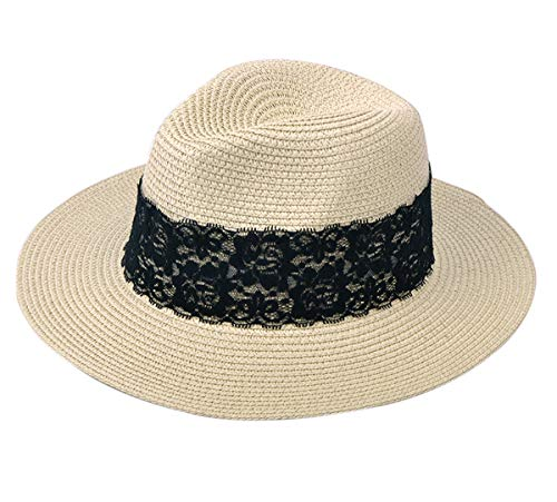 JOYEBUY Womens UPF50 Foldable Summer Straw Hat Wide Brim Fedora Sun Beach hat (Style B-Khaki)