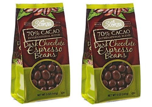 Sconza 70% Cacao Dark Chocolate Covered Espresso Beans (Pack of 2) 5 oz Bags