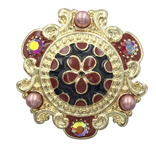 Large Abstract Statement Gold Tone Big Stretch Cocktail Ring (Flower Daisy Center Dark Red & Black) (Center Stripe Ring)