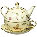 Delicate Butterfly,Dragonfly And Flowers Porcelain Duo Teapot Wonderful Gift Idea