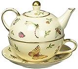 Botanical Porcelain Duo Teapot, Teacup and Saucer Set