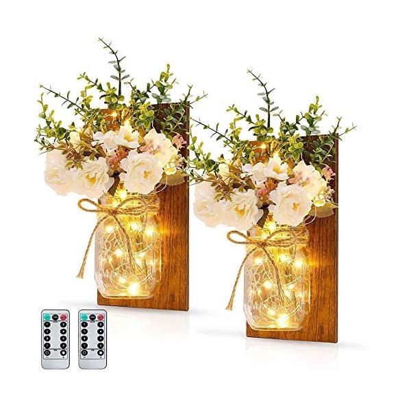 MMTX Applique da Parete Rustica, Mason Jar Sconce Decorazione da Parete con luci LED Strip Design per Giardino di casa Decorazioni Natalizie (2pcs) 1 spesavip