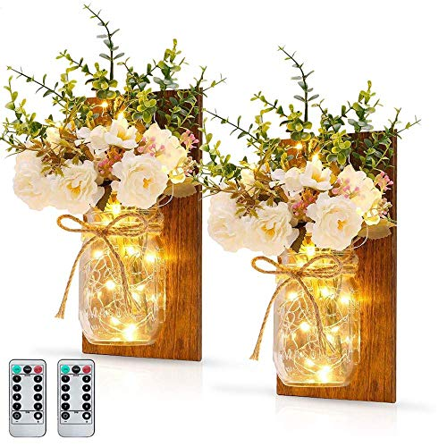 MMTX Apliques Tarro de mason con Luces LED de Hadas, Faros de Tarro de mason, Ganchos de Hierro Forjado, Luces de Tira de LED con bateria operada para Home Garden Christmas Decor (2PCS)