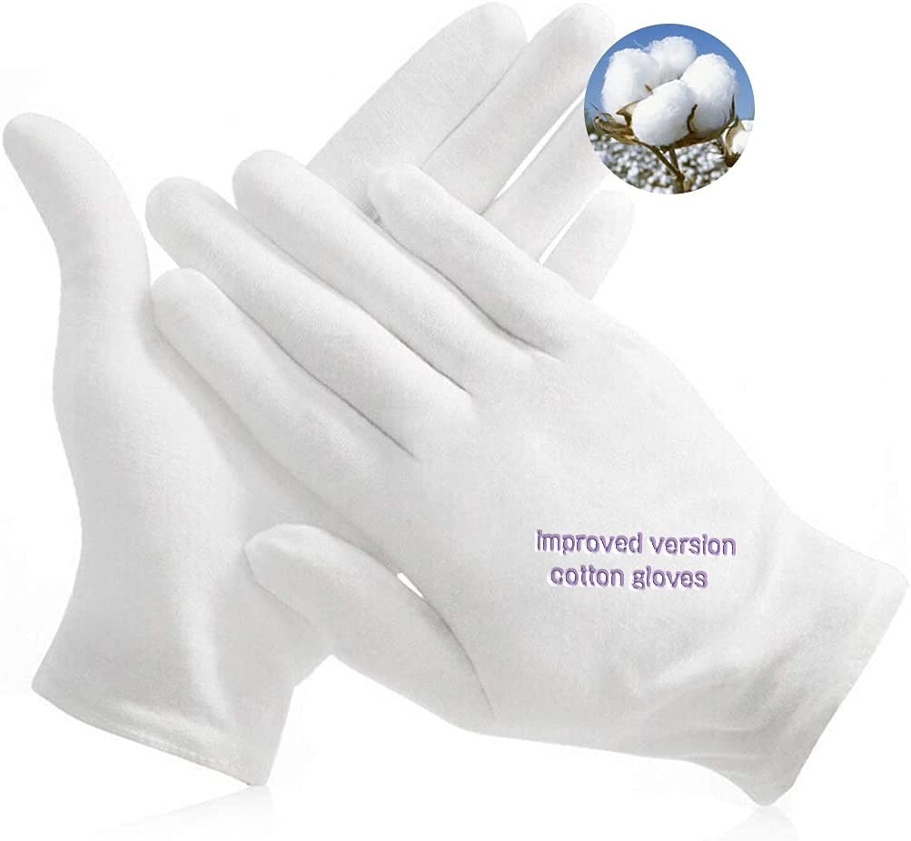 White Elastic Soft Cotton Work Gloves Coin Jewelry Inspection Etiquette Clean