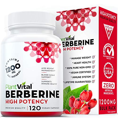 New! Berberine 1200mg Supplement [HIGH Potency]. 100% Pure, Aids Weight Loss, Boosts Immune System, Blood Sugar Stabilizer, Glucose Metabolism & Cardiovascular Health. Vegan, Non-GMO, 120 Bulk Pack.