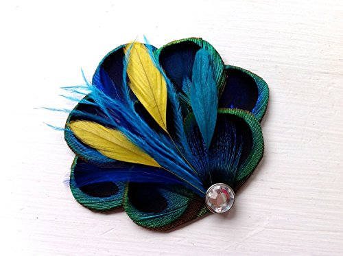 Oh Lucy Handmade BRANDY II Blue, Turquoise, and Yellow Peacock Hair Fascinator, Clip, Couture Wedding