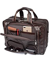 Texbo Men's Genuine Leather Business Trip Briefcase Large Bag Fit 17' Laptop