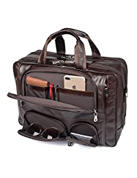 """Texbo Men's Genuine Leather Business Trip Briefcase Large Bag Fit 17"""" Laptop"""