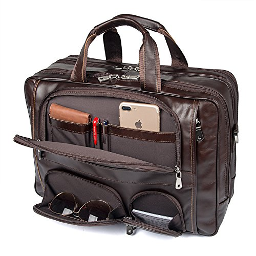 Texbo Men's Genuine Polished Leather Briefcase Laptop Large (Large Genuine Leather Backpack Bag)