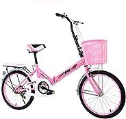 Ultra Light Suspension Folding Bicycle,Adult Folding Bike with Storage Basket Rear Carry Rack,20in Bike Urban