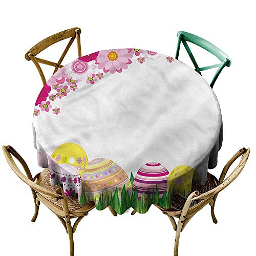 Luunins Round Tablecloth Fitted Easter,Ornamented Eggs in Garden D54,for Accent Table