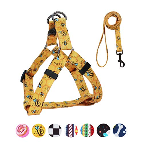 QQPETS Dog Harness Leash Set, Adjustable Heavy Duty No Pull Halter Harnesses for Large Breed Dogs, Back Clip, Anti-Twist, Perfect for Walking (L(23″-32″ Chest Girth), Yellow Bee)