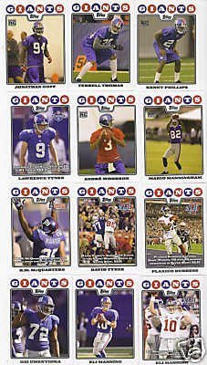 New York Giants Football Cards - 4 Years Of Topps Complete Team Sets 2005,2006,2007, 2008 - Includes Stars like Eli Manning, Rookies & More - Individually Packaged!
