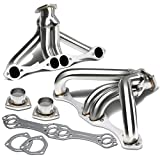 1997 chevy truck headers - Chevy Small Block Hugger 2x4-1 Tight Fit Design Stainless Steel Exhaust Header Kit (Polished Chrome) Angle Head