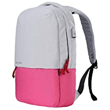 Bolang Water Resistant Casual Daypack School Laptop Backpack with USB Charging Port 8849 (White/Pink, One Size)