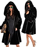 Roiii Womens Winter Luxury Outerwear Long Sleeve Faux Mink Fur Coat