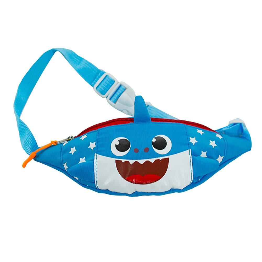 eroute66 Lovely Cartoon Shark Canvas Waist Bag Adjustable Strap Kids Crossbody Pouch - Blue