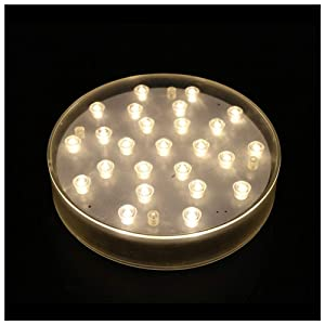 LACGO 6'' Acrylic Round LED Vase Base Plate Light, Clear Case, with 25 Bright Warm White LEDs, Operated with USB or Battery-powed, for Home, Display Stand Table Centerpiece Decor(Pack of 1)