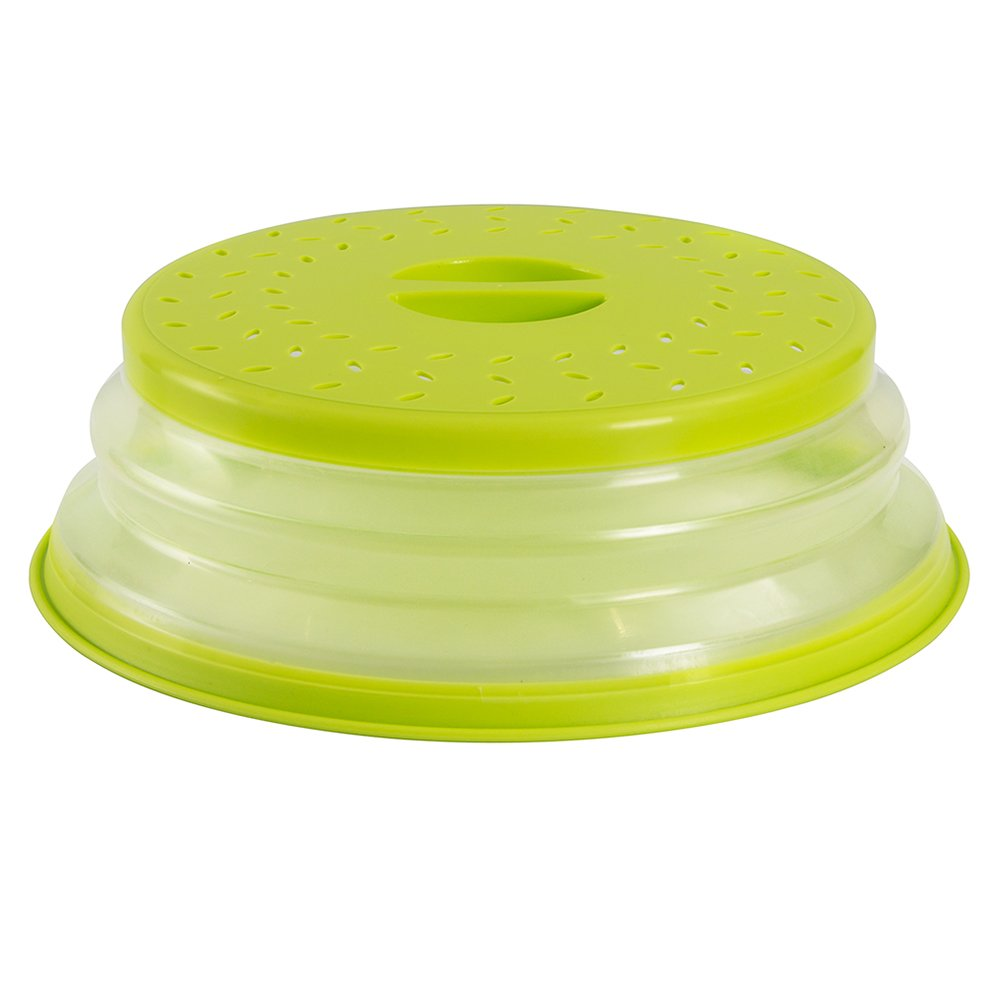 OUCHAN Collapsible Microwave Plate Cover Colander Strainer for Fruit Vegetables,BAP Free and Non-Toxic (Green)