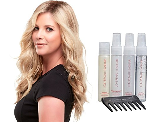 Bundle 2 items: Top Wave 18 Inch Long Wavy Jon Renau Womens Topper Double Monofilament Base Clip In Hair Loss Piece Easihair Color 12FS8, Synthetic Hair Care Travel Kit by Jon Renau