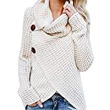 Womens Turtleneck Sweater Warm Knitted Loose Button Wrap Asymmetrical Coat Pullover