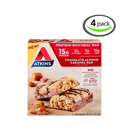 Atkins Protein-Rich Meal Bar, Chocolate Almond Caramel, Keto Friendly, 5 Count – 4 Pack