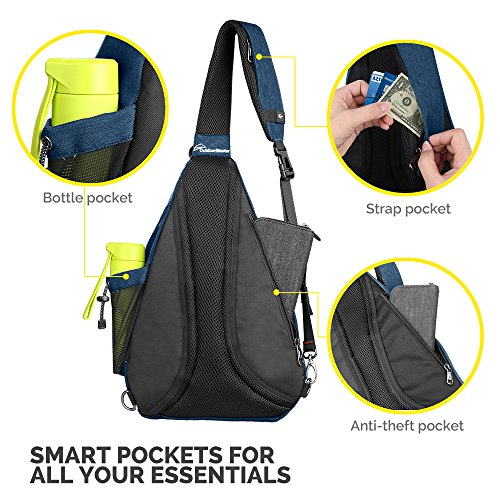 OutdoorMaster Sling Bag - Small Crossbody Backpack for Men & Women (Dark Blue)