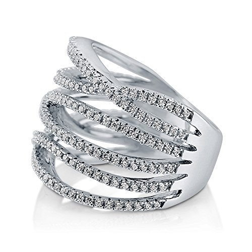 BERRICLE Rhodium Plated Sterling Silver Woven Cocktail Ring Made with Swarovski Zirconia Size 6 by BERRICLE (Image #2)