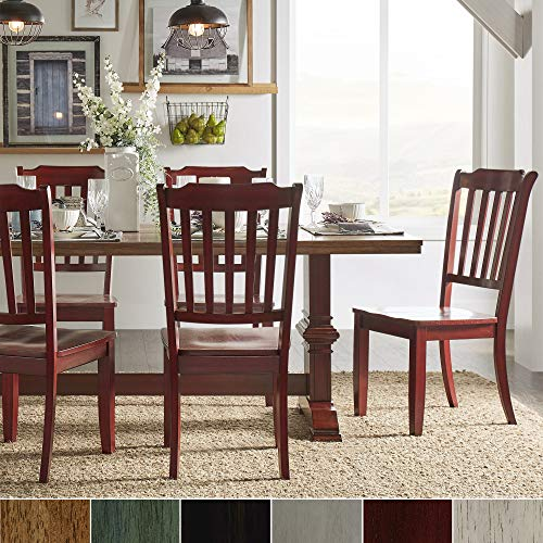 Inspire Q Eleanor Berry Red Farmhouse Trestle Base Slat Back 5-Piece Dining Set by Classic Antique White Oak Finish (Back Slat 5 Piece)