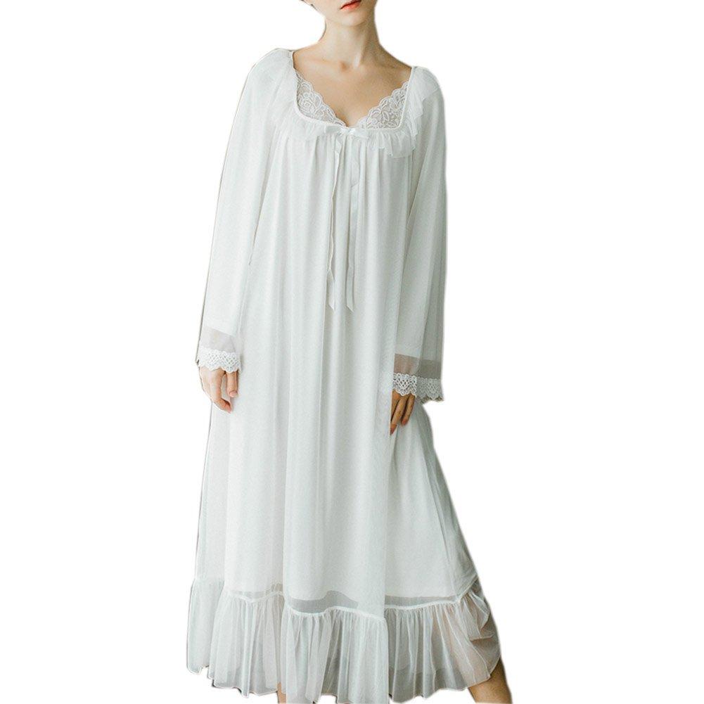 Women's Long Sheer Vintage Victorian Lace Nightgown Sleepwear Nightwear