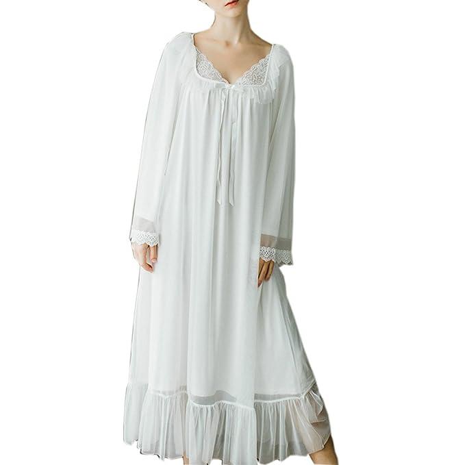Women s Long Sheer Vintage Victorian Lace Nightgown Sleepwear Nightwear ( white 78c5fe0e3