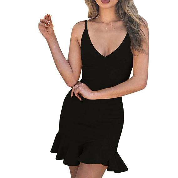 Vestido de verano de mujer, Dragon868 Mini vestido sin mangas con volantes sin mangas para